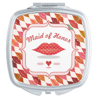 Funky Mrs. Lips Bridesmaid Mirrored Compact Vanity Mirror