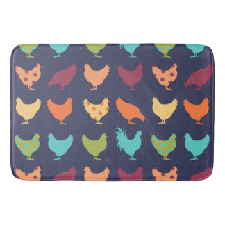 Funky Multi-colored Chicken Pattern Bath Mat