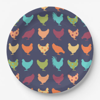 Funky Multi-colored Chicken Pattern Paper Plate
