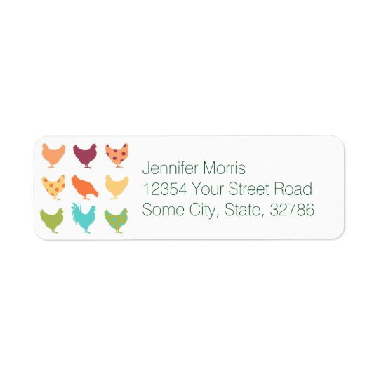 Funky Multi-coloured Chicken Pattern Return Address Label