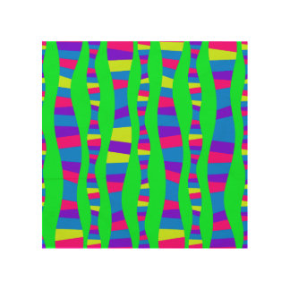 Funky Neon Colors Retro Modern Pattern Psychedelic Wood Canvas