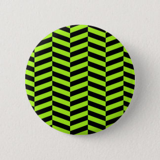 Funky Neon Green and Black Zig Zags Chevron 6 Cm Round Badge