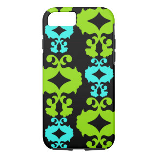 Funky Neon Green Teal Damask iPhone 7 Case