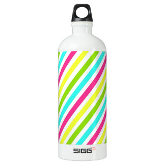 Funky Neon Pink Blue Green Yellow Stripes SIGG Traveller 1.0L Water Bottle