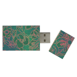 Funky Neon Pink Floral Vintage Blue Flower Pattern Wood USB 2.0 Flash Drive