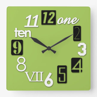 Funky Numbra Square Lime Green Wall Clocks