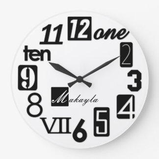 Funky Numbra Square Wall Clocks - personalized