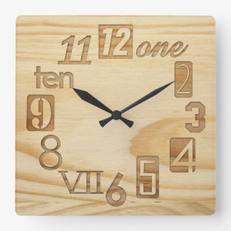 "Funky Numbra  ""Wood grain"" Square Wall Clocks"