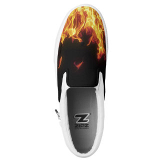 funky on fire flame men shoes printed shoes