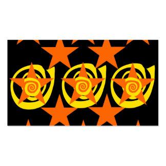 Funky Orange and Black Stars Swirls Pattern Pack Of Standard Business Cards
