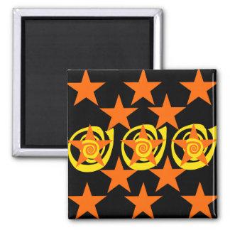 Funky Orange and Black Stars Swirls Pattern Square Magnet