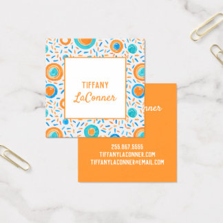 Funky Orange and Blue Shapes Square Business Card