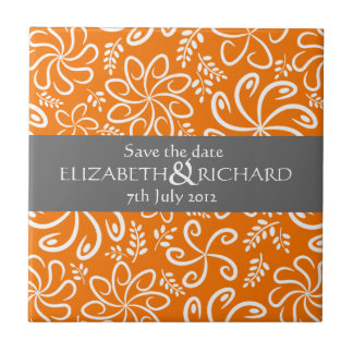 Funky orange flowers and leaves Save the date Tile