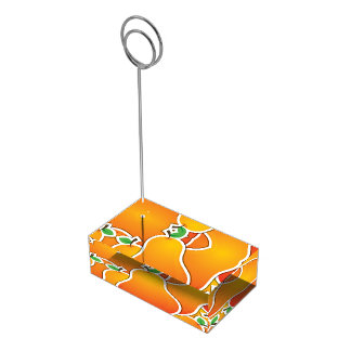 Funky orange pear table card holders