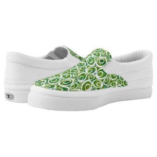 Funky Ovals - avocado greens Z slipons Printed Shoes