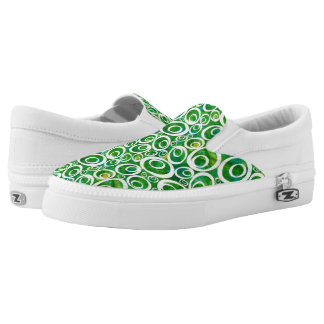 Funky Ovals - green & golds Z slipons Printed Shoes