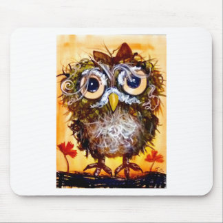 Funky owl girl mouse pad