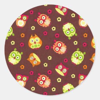 Funky Owls Round Sticker
