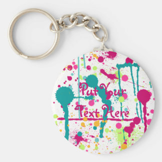 Funky Paint Splatters Key Ring