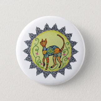 Funky, Paisley, Celtic Cat Mandala 6 Cm Round Badge