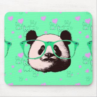 Funky panda wearing glasses green pink mouse pad