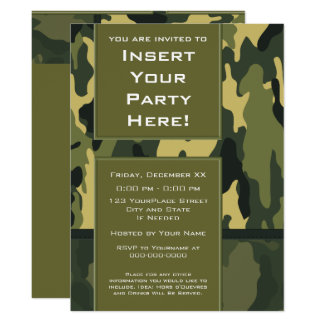 Funky Party - Dark Green Military Camouflage Card