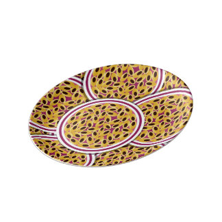 Funky passion fruit porcelain plate