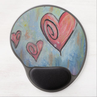 Funky Pastel Hearts Gel Mouse Pad