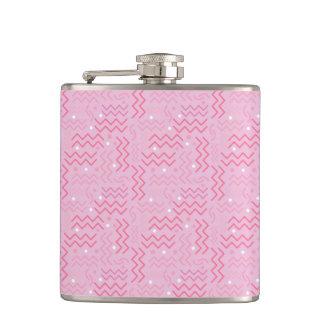 Funky Pastel Pink Memphis Design Hip Flask