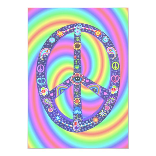 Funky Peace Sign Invitation