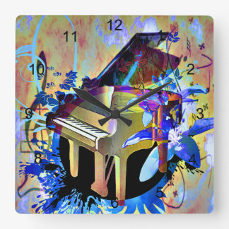 Funky Piano Square Wall Clock