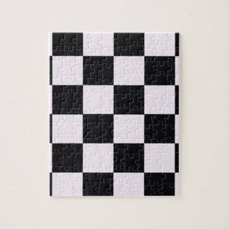 Funky Pink Black Blocks Jigsaw Puzzle