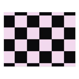 Funky Pink Black Blocks Postcard
