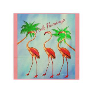 Funky Pink Flamingos Palm Trees Blue Sky Wood Print