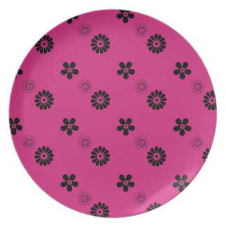 Funky pink flowers plate