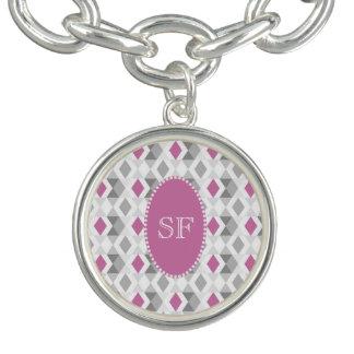 Funky Pink Gray Diamond Monogram