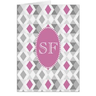 Funky Pink Gray Diamond Monogram Card