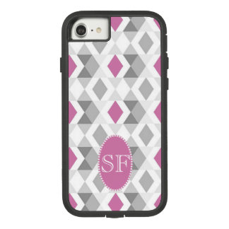 Funky Pink Gray Diamond Monogram Case-Mate Tough Extreme iPhone 8/7 Case