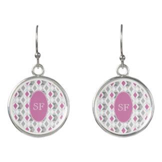 Funky Pink Gray Diamond Monogram Earrings