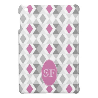 Funky Pink Gray Diamond Monogram iPad Mini Cover