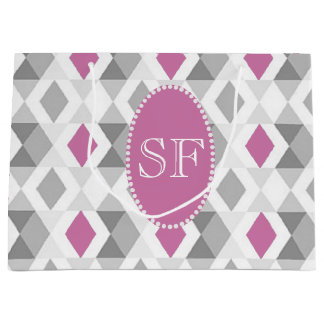 Funky Pink Gray Diamond Monogram Large Gift Bag