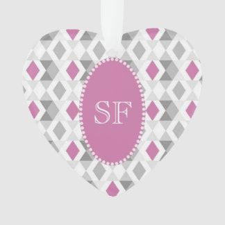 Funky Pink Gray Diamond Monogram Ornament