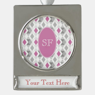 Funky Pink Gray Diamond Monogram Silver Plated Banner Ornament