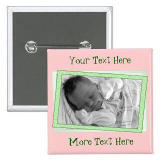 Funky Pink Green Polkadot Frame Button