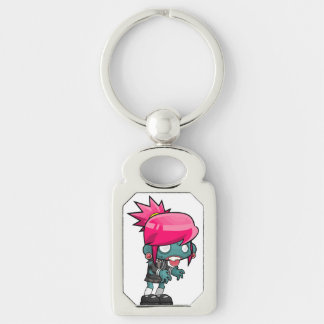Funky Pink haired Zombie Girl Ghoul Key Ring