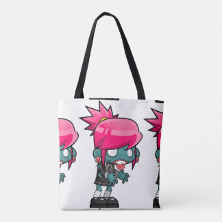 Funky pink haired zombie girl tote bag