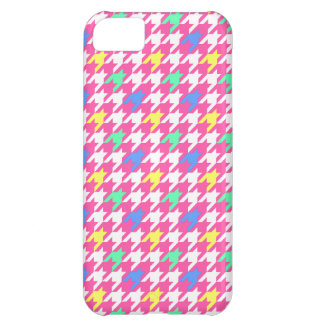 Funky Pink Houndstooth Pattern iPhone 5 Case