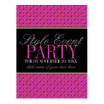 Funky Pink Pattern Office Party Invitation Cards Postcards