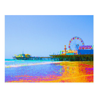 Funky Pixels Santa Monica Pier Postcard