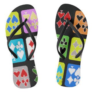 Funky Poker Player Stylized Cards Flip Flops Thongs